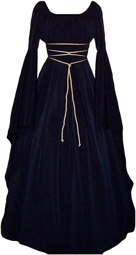 Kaiyei Vestido Dama Medieval Cuello Redondo Mangas Largas Vintage ...