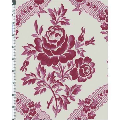 magenta-white-verna-mosquera-billet-doux-rose-lace-print-cotton-fabric-sold-by-the-yard