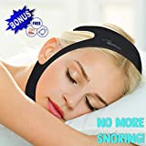 Anti Snore Chin Strap – Adjustable – Black – Prevents Snoring, Sleep Apnea - Latex Free – Non-Allergenic – Includes Free Anti Snoring Nose Clip - RENNOCCI