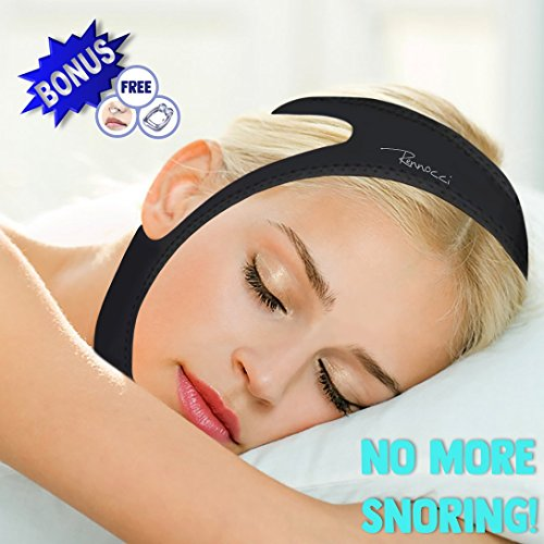 Upgraded - Anti Snore Chin Strap – Adjustable – Black – Prevents Snoring - Latex Free – Non-Allergenic – Free Nose Air Vent