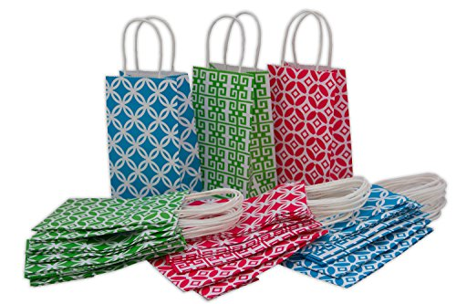 "Assorted Kraft Gift Bags, Small, Bulk set of 30, 5.25"" x 8.5"