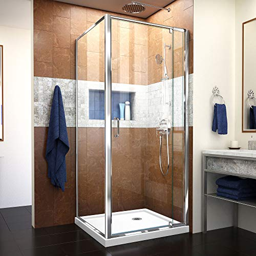 DreamLine Flex 32 in. x 32 in. Semi-Frameless Pivot Shower Enclosure in Chrome with Corner Drain White Base Kit, DL-6714-01CL