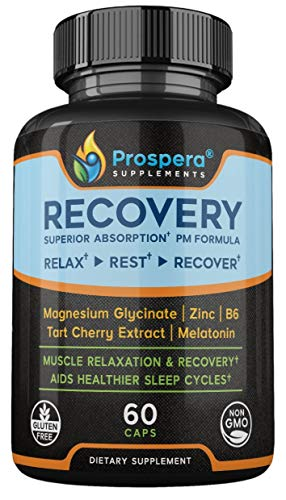 Prospera Recovery - Relax, Rest & Recover. Magnesium Glycinate, Tart Cherry Extract, Zinc, B6 & Melatonin. Helps Workout Recovery & Healthier Sleep Cycles for a Deeper Rest.