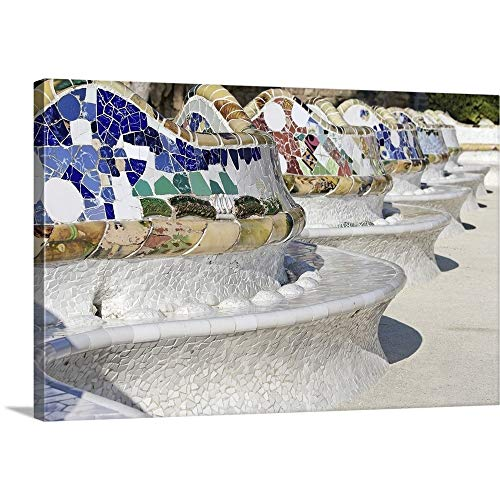 (Close-up of Mosaics on Gaudi Building, PARC Guell, Barcelona, Spain Canvas Wall Art Print, 48