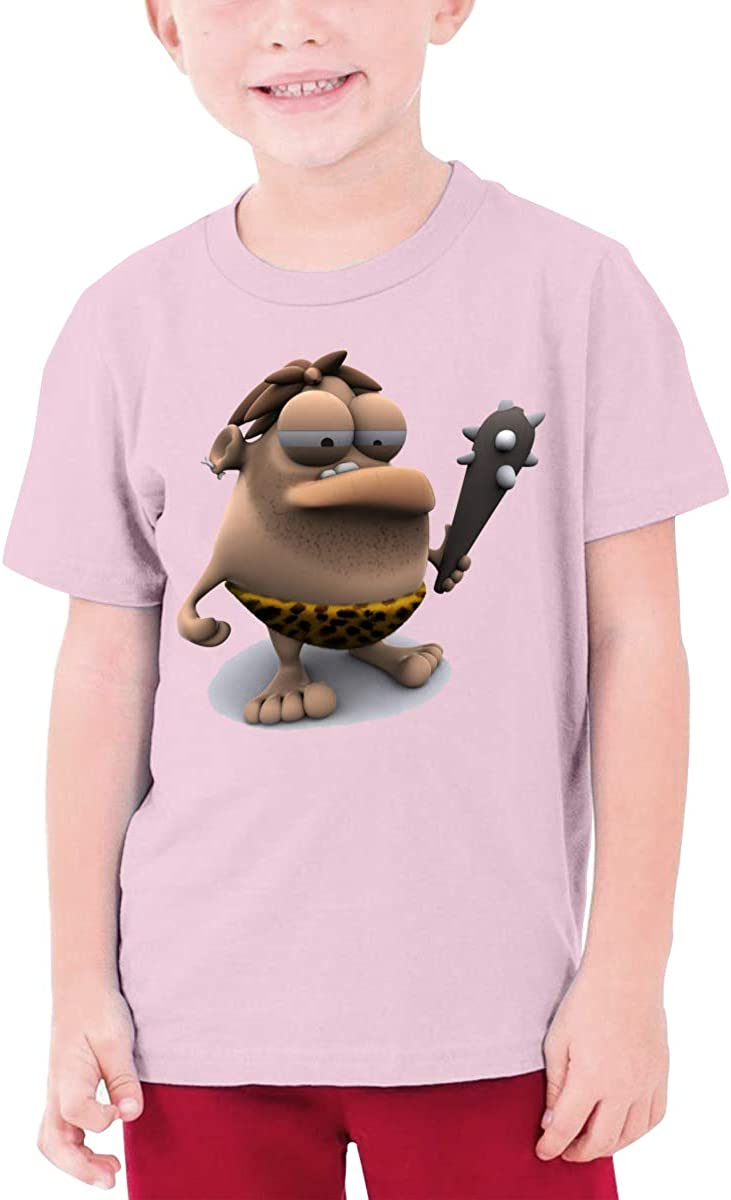 QIMING SHIPPING 3D Cartoon Primitive Man Teenage T-Shirt,Boys T-Shirts,Girls T-Shirts S-XL