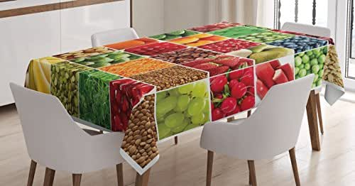 Colorful Tablecloth by Ambesonne, Fresh Fruits Vegetables in Squares Healthy Eating Ingredients Agriculture Collage, Dining Room Kitchen Rectangular Table Cover, 60W X 84L Inches, Multicolor