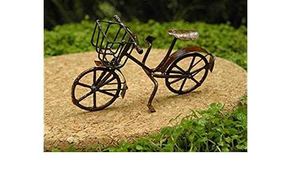Miniature Dollhouse FAIRY GARDEN ~ Small Rustic Antiqued Metal Bicycle ~ NEW
