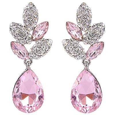 EVER FAITH Rhinestone Crystal Wedding Leaf Teardrop Pierced Dangle Earrings Silver-Tone