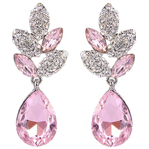 EVER FAITH Rhinestone Crystal Wedding Leaf Teardrop Pierced Dangle Earrings Pink ()