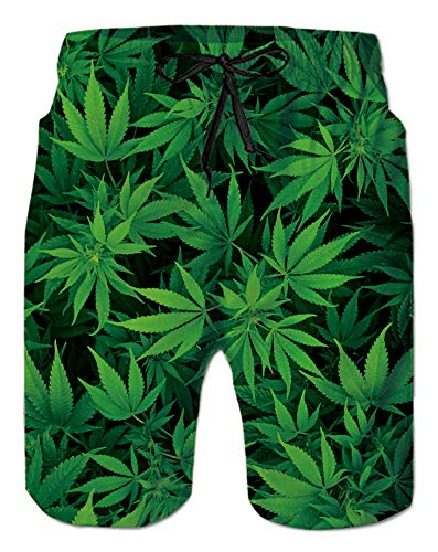 Men's Swimming Trunks Funny Green Weeds Floral Printed Cool Summer Hawaiian Beach Holiday Boardshorts Big Pocket Spandex Compression Shorts for Teen Boy 60 70 80 90's Swimwear Beachwear Casual Running