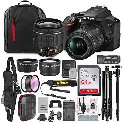 Nikon D3500 DSLR Camera with AF-P DX NIKKOR 18-55mm f/3.5-5.6G VR Lens + 64GB Card, Tripod/Monopod, Battery, and Platinum Bundle