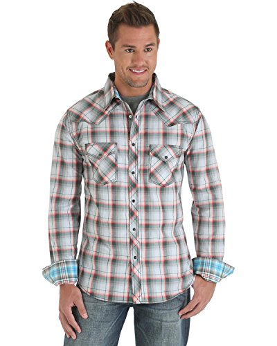 Wrangler Men's 20X Pearl Snap Plaid Western Shirt Grey Large