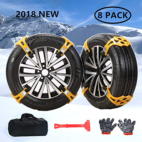 Universal Snow Tire Chains for Cars Light Trucks SUV Sedan Family Automobiles ATV with Update TPR Material for Emergency, Ice Snow Mud SandApplicable,Tire Width 165-275mm/6.5-10.8in(8 Pack)