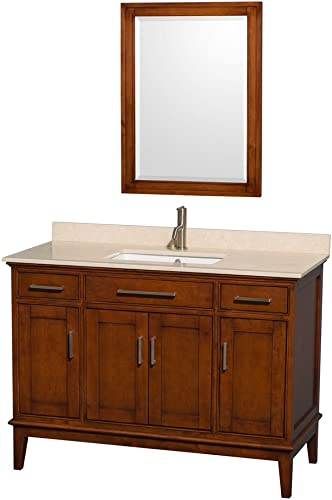 Wyndham Collection Hatton 48 inch Single Bathroom Vanity in Light Chestnut, Ivory Marble Countertop, Undermount Square Sink, and 24 inch Mirror