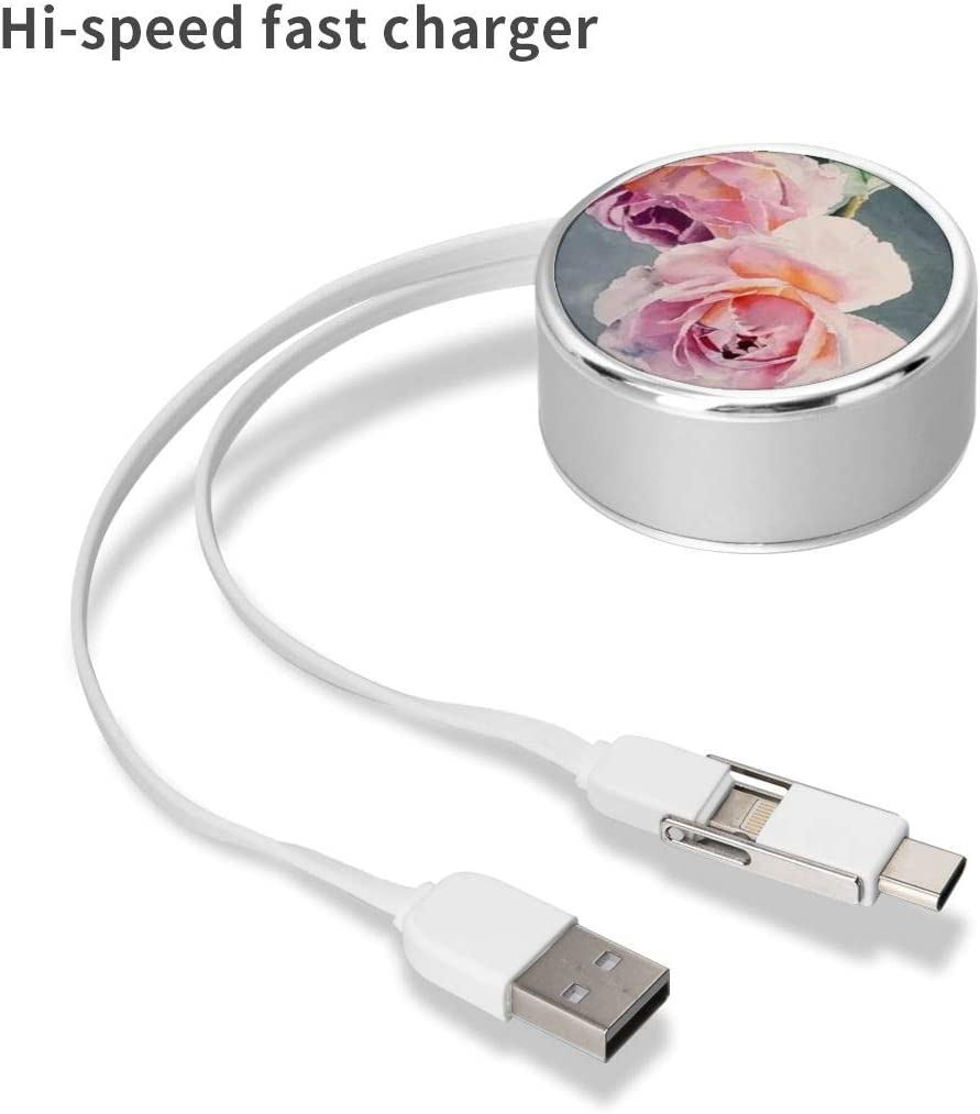 Charging Cable Can Be Charged and Data Transmission Synchronous Fast Charging Cable-Light Pink Flowers Round USB Data Cable