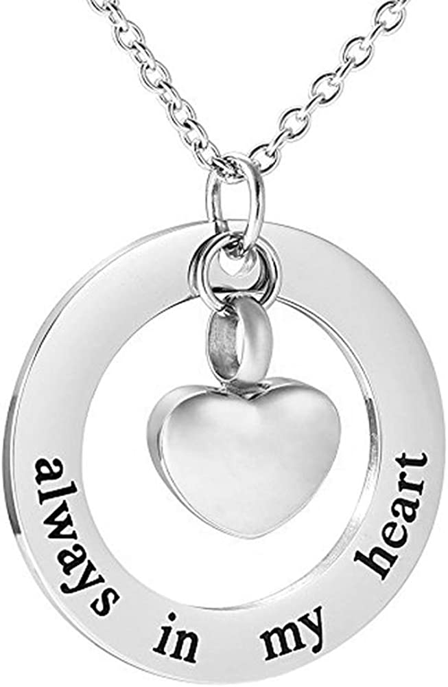 misyou Family Stainless Steel Always in My Heart Ashes Urn Necklace 4 Colors Heart Pendant Cremation Jewelry Gift