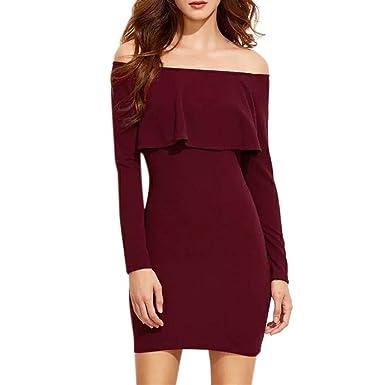 e2b33cb909 LUBITY Robe Femme Sexy À Manches Longues Vin Rouge Robe de Soirée Mini sans  Bretelles Chic