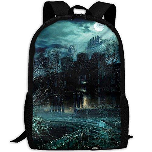 Markui Adult Travel Hiking Laptop Backpack Ghost House Night Moon School Multipurpose Durable Daypacks Zipper Bags -
