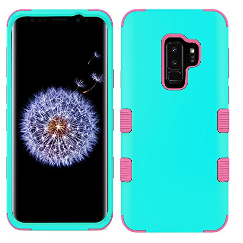 MyBat Cell Phone Case for Samsung Galaxy S9 Plus - Rubberized Teal Green/Electric Pink Solid