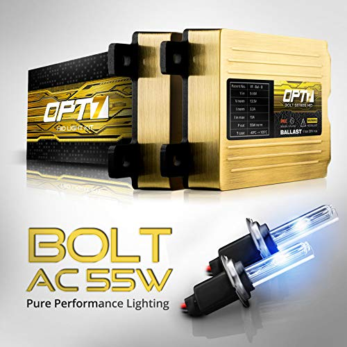 OPT7 Bolt AC 55w H7 HID Kit - 5x Brighter - 6x Longer Life - All Bulb Sizes and Colors - 2 Yr Warranty [6000K Lightning Blue Xenon Light]