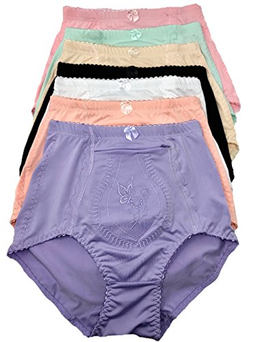 Peachy Panty 6 Pack Women's Travel Pocket Girdle Brief Panties S-4XL (Travel Zipper Pocket, X-Large) (Panty Girdle Zipper)