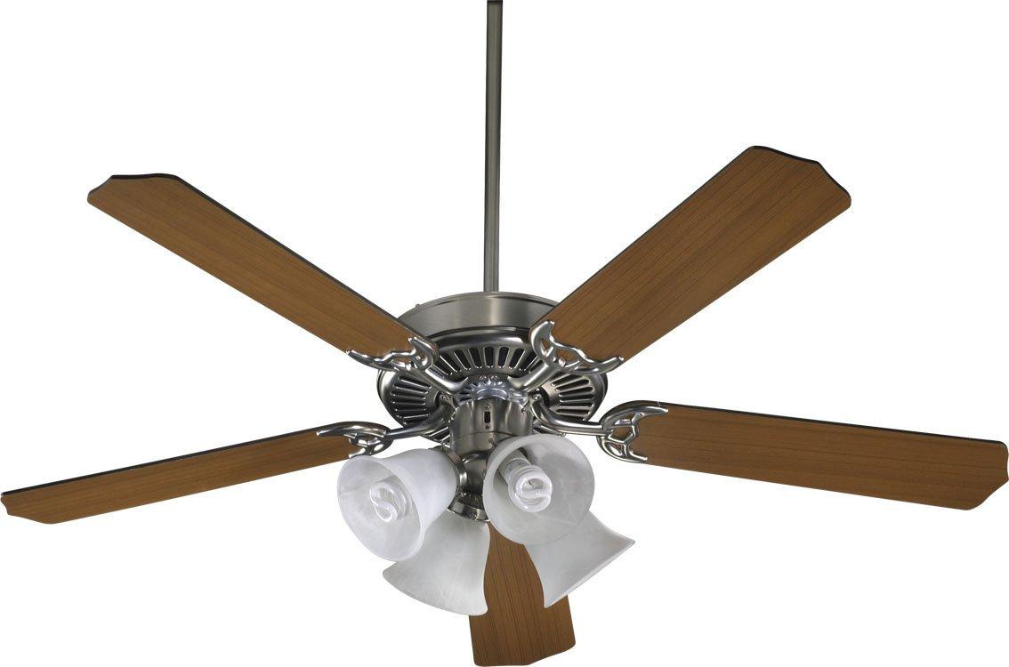 Quorum 77525-8165, Capri V Satin Nickel 52'' Ceiling Fan with Light by Quorum