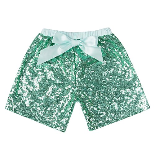 Messy Code Baby Girls Shorts Toddlers Short Sequin Pants Newborn Sparkle Shorts with Bow, Mint, XXXL(5-6Y)