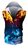 HOP FASHION Unisex Sleeveless Workout Ice Fire Print Hoodie Tank Tops Zipper up Vest Tees with Front Pockets HOPM115-15-S