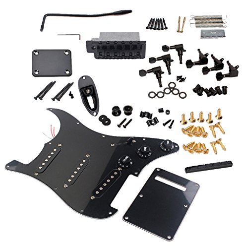 Combo Kits Loaded Pickguard 6R Tuning Pegs Tremolo Bridge System Full Accessories for Strat Style Electric Guitar DIY - Black