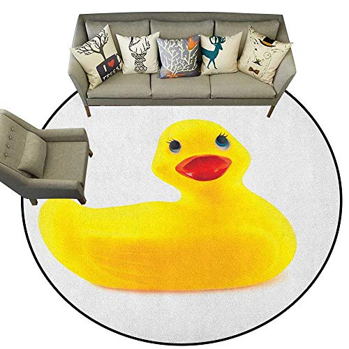 (Rubber Duck,Carpet Yellow Squeak Ducky Toy Fun Bubble Bath Animal Kids Room Duckling Print D60 Super Soft Circle Rugs for)