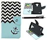 LG G4 Case, iYCK Premium PU Leather Flip Folio Carrying Magnetic Closure Protective Shell Wallet Case Cover for LG G4 with Kickstand Stand - Wavy Anchor