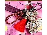 Yunqir Lightweight Cartoon Creative Shiny Rhinestone Bear Key Chain Tassel Pendant for Women_Colorful