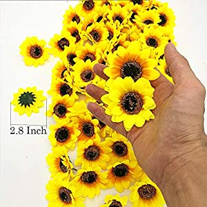 YISNUO Artificial Flowers, Fake Sunflowers Silk Flowers Table Centerpieces Arrangements Home Indoor Decorations Wedding Party D¨¦cor 2