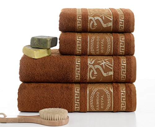 Turkish Bamboo Towel Set , %70 Bamboo %30 Turkish Cotton, 2 Bath Towels and 2 Hand Towels - Natural, Ultra Absorbent and Ultra Soft (Gift Set of 4) - Brown Bamboo