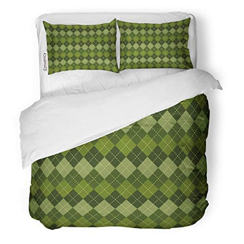 Tarolo Bedding Duvet Cover Set Green Plaid Argyle Pattern Diamond Shapes to Swatches of in The File for Ease Use Blue Retro 3 Piece Twin 68