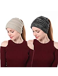 EINSKEY Ponytail Beanie Hat Womens Soft Stretch Cable Knit Messy Bun Skull Cap