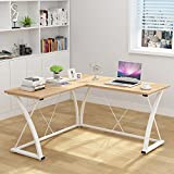 Decho Modern L-shaped Desk Corner Computer Desk PC Latop Study Table Workstation Home Office Wood&Metal(Oak)