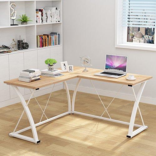 Decho Modern L-shaped Desk Corner Computer Desk PC Latop Study Table Workstation Home Office Wood&Metal(Oak) ()