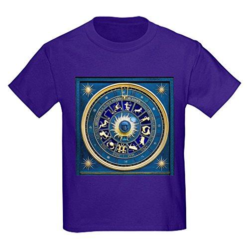 Royal Lion Kids Dark T-Shirt Blue Marble Zodiac Horoscope Signs - Purple, XL