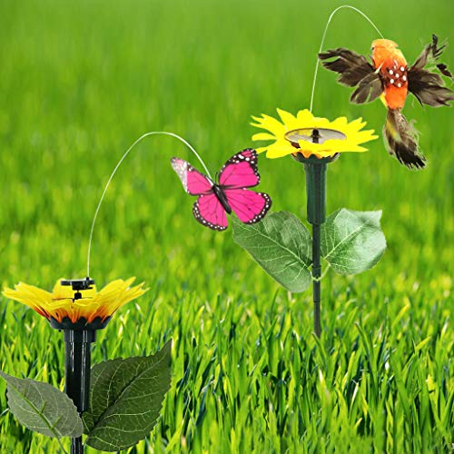 - Gotian Solar Powered Dancing Fluttering Colorful Butterflies Hummingbird Yard Decor Gifts Decorations Great for Potted Plant Yard Garden (B)