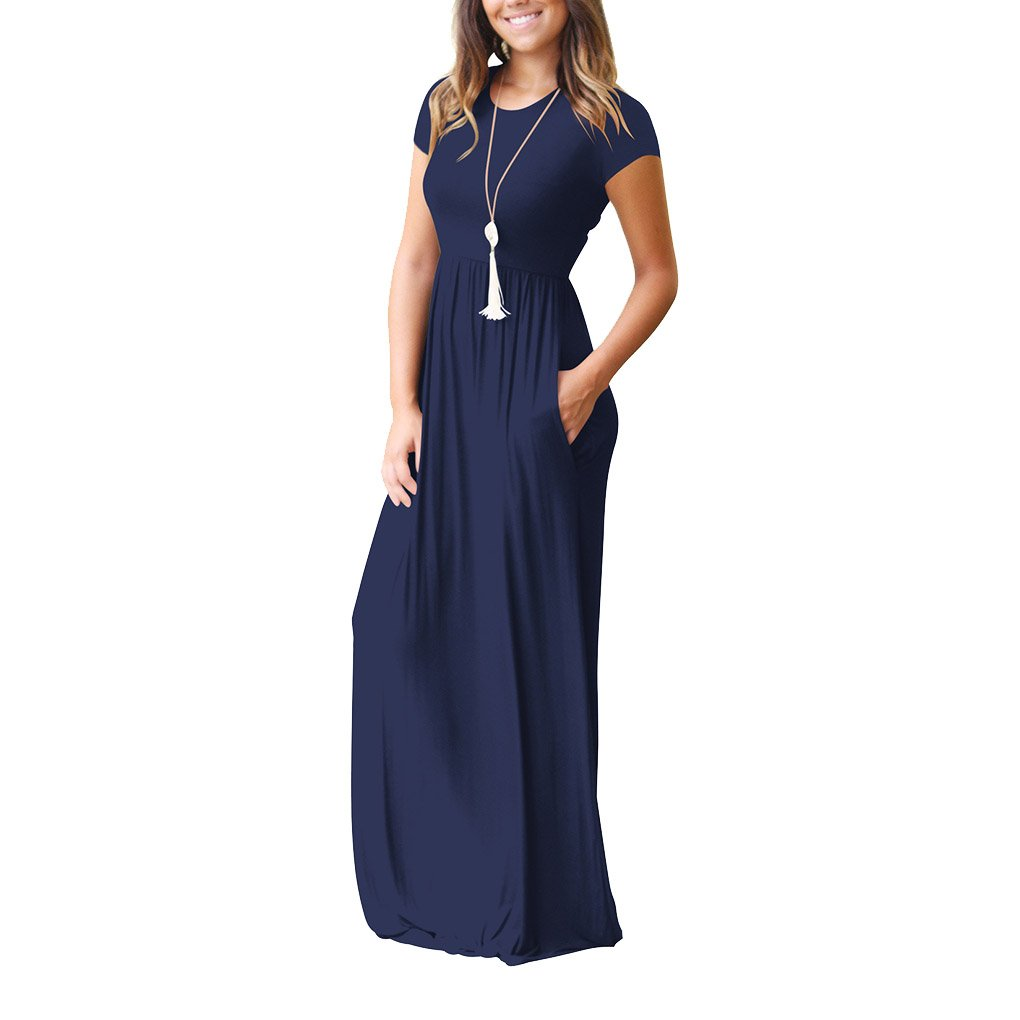 Riverlily Women's Solid Short Sleeve Loose Plain Maxi Dresses Casual Long Dresses with Pockets, Navy ,X-Large