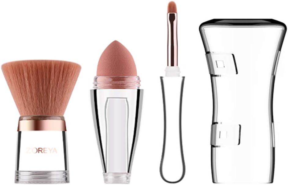 SANYUELI Zoreya Pinceles de maquillaje facial 3 en 1 con tapa Pincel de labios Licuadora Esponja Puff Pincel de contorno plano Base Herramientas cosméticas: Amazon.es: Belleza