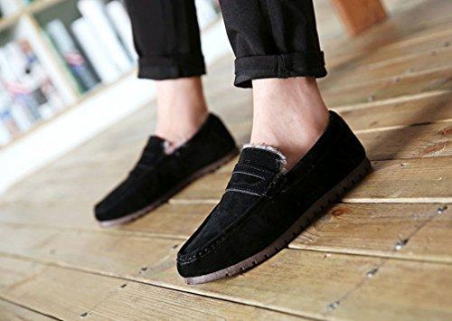 Negro Loafer Moda Botas Barco Zapatos de Dooxi Planos Invierno Mocassin Nieve Forrado Antideslizante Hombre Calentar Zapatos w0ZXq