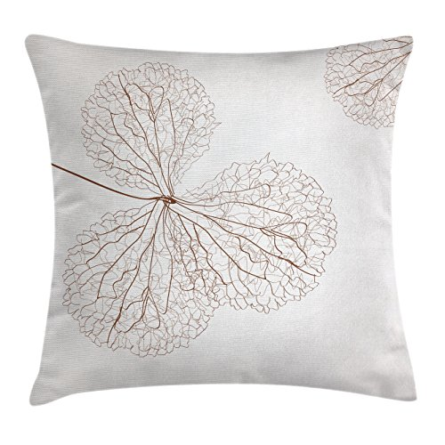 Ambesonne Flower Decor Throw Pillow Cushion Cover, Abstract Cotton Floral Design with Veins Natural Botanic Plants Image Art, Decorative Square Accent Pillow Case, 16 X 16 inches, White and Brown ()