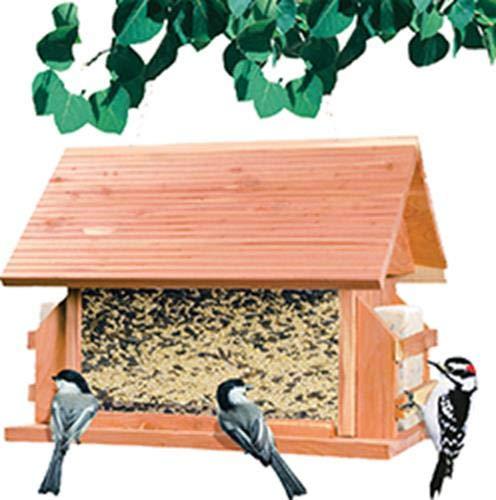 Perky-Pet Vogelfutterspender Zederh/ütte aus Holz 50153 F/üllkapazit/ät 3,6 kg Plus 2 Fettbl/öcke Mod