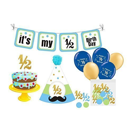 1 2 Birthday Boy Photo Prop 6 Month Includes Bunting Banner Balloons Hat Confetti And Cake Topper Blue