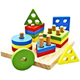 JUNGEN Geometric Jigsaws Toys Puzzle Games Wooden Toy for Kids 1-3 Year Old Multicolour