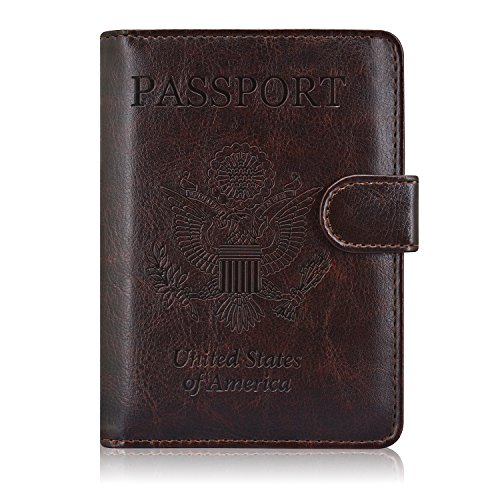 ACdream Passport Holder Wallet, Travel Leather RFID Blocking Cover for Passport, (Coffee)
