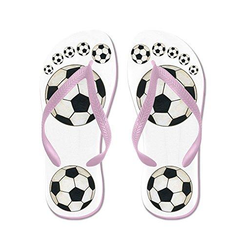 Cafepress Fotboll Flip Flops - Flip Flops, Roliga Rem Sandaler, Strand Sandaler Rosa