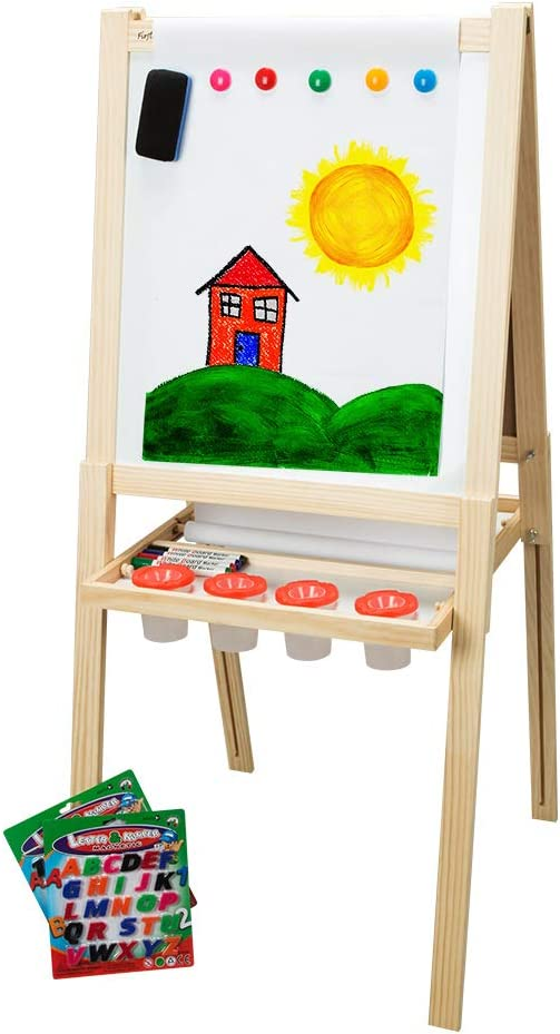 Dry Erase Board and Magnetic Chalk Board Includes Numbers Letters Markers Chalk /& Eraser Accessory Pack 2nd Edition First Impressions Childrens Solid Wood Art Easel